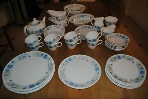 Blue and white Wedgwood 'Clementine' bone china, 47 pieces for dinner and tea