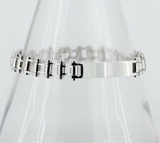 Steel Bycycle Chain Link with ID Panel Bracelet
