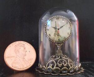 Elegant Bronze Glass Dome Mantle Clock Dollhouse Miniature Mid-Century Modern ==