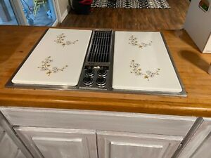 jenn air downdraft stainless steel unit with grill, griddle and rotisserie