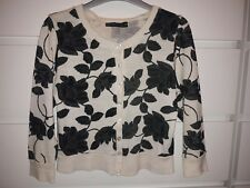 Ellie Louise cream/black floral crop cardigan size small