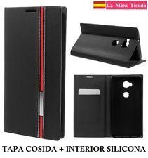 "Funda Tpu Gel con Tapa para ""Huawei Honor 5X"" Negra Carcasa Negro Gr5 Tarjetero"