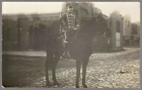RARE HUSSAR WW1 GERMAN EMPIRE CAVALRY WAR HORSE RPPC ANTIQUE PHOTO POSTCARD