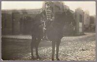 RARE HUSSAR WW1 GERMAN EMPIRE CAVALRY WAR HORSE RPPC ANTIQUE PHOTO POSTCARD