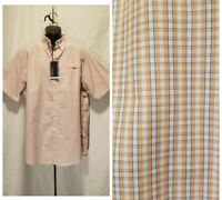 New Roundtree&Yorke Men Size L Large Button Down Peach Plaid Short Sleeve Shirt