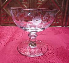 Crystal Stemware~Vintage~Elegant Etched Floral Champagne Glasses~Set Of 4~Exc