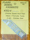 Plano HO #352-4 Mudflaps -- Chrome Tipped - 4 Sets in package (Metal)