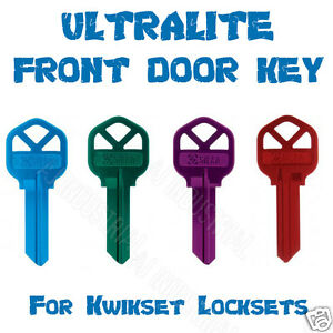 HOUSE KEYS COLORED ULTRALITE FOR KWIKSET, SILCA KS1 UNCUT FRONT DOOR KEY