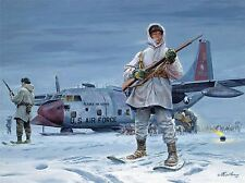 PAINTINGS LANDSCAPE MILITARY AIRCRAFT SNOW SOLDIER ART POSTER PRINT LV3217