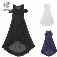 Women Summer Chiffon Gothic Dress Girl Short Sleeve Causal Costume 3 Colors