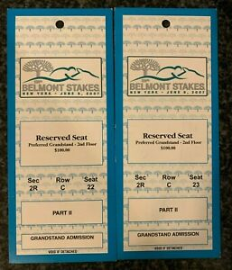 2 June 9, 2007 Belmont Stakes Reserved Seat Tickets Rags to Riches
