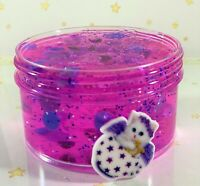 "SCENTED Clear Purple SLIME ""ANGEL"" THICK Glitter Beads Cat Charm Scented 6 8 oz"