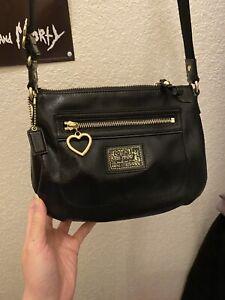 Coach Poppy Liquid Gloss Black Patent Leather Heart Crossbody Shoulder Purse Bag