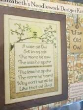 Wise Old Owl Cross Stitch CHART/THREAD/OWL CHARM-90x128 Stitches-Elizabeth's Nee