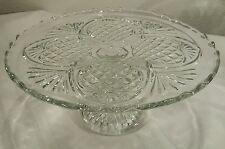 "Antique EAPG Higbee Glass Iris/Pineapple 10"" Pedestal Cake Platter/Plate Cr 1885"