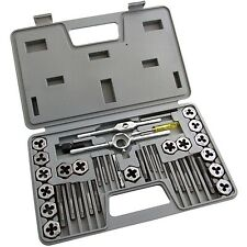 40 PCS METRIC TAP WRENCH AND DIE SET CUTS M3-M12 BOLTS & HARD CASE S1150