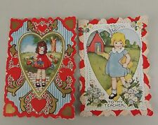 2 Valentine Greeting Cards Vintage Children School Theme Die Cut 1920 Signed