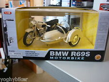 MODELLINO BMW R69S MOTORBIKE BIANCO SCALA 1:18 NUOVO IN SCATOLA