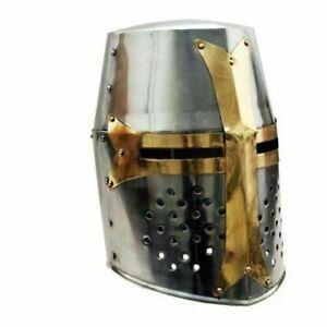 Medieval Knight Crusader Templar Helmet w/ Mason's Brass Cross, Crusade Knights