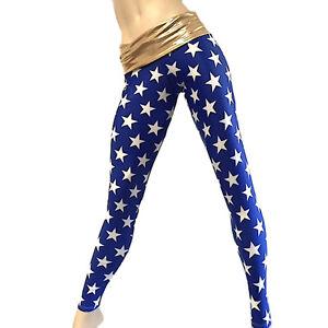 Wonder Woman Super Hero Blue Stars Pants Fold Over/Low Rise Legging SXYFITNESS