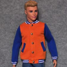 Barbie Doll Fashion Clothes Coat Orange & Blue Baseball Jacket For KEN Dolls