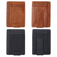 Mens Genuine Leather Magic Wallet RFID Money Clip Magnet Credit Card Purse Black