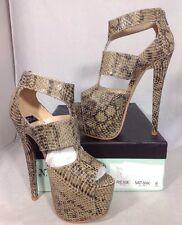 NEW NY LA High Heels Womens Size 6 Snake Print Open Toe Ankle Platform Shoes