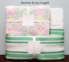 Pottery Barn Kids CLAUDIA MEDALLION Crib Quilt+Bumper+Skirt BRIGHT GREEN / PINK