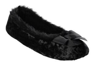 Ladies Isotoner Irradescent SOFT VELOUR Ballet Style Slippers Soft Sole BLACK