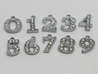 """10 Assorted Silver Tone Alloy Rhinestone Number """"0-9"""" Charms Pendants"""