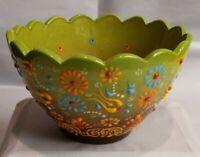 "Nimet Turkey, Green ceramic bowl, Floral motif, Moriage, Ruffled rim. 5.5"" diam."