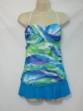 NWT Ralph Lauren Tankini  2 Piece Swimsuit Multi Color Top Blue Skirtini Size 6