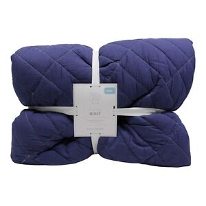 Pottery Barn Sutter Reversible Quilt Navy Gray Twin NIP $119