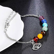 7 Chakra Colorful Beads Bracelet Lotus Pendant Energy Yoga Ankle Chain Jewelry-G