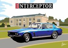 Jensen Interceptor Art Deco Birthday Fathers Day Blank Card