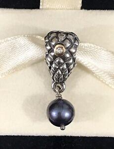 Pandora Silver 14K Gold Diamond GRAPES Blue Pearl Dangle Charm 790547D + Box