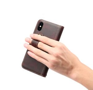 Magnetverschluß Echt Leder Klapphülle Etui Handtasche Flip Cover Case für iPhone