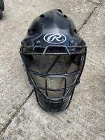 Rawlings Youth Size 6.5 to 7 baseball catchers helmet black. Missing Strap