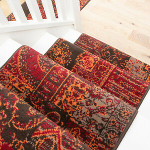Classic Red Patchwork Long Hall Stair Carpet Hallway Stair Runner Sold in Feet