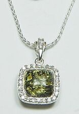 "Baltic Green Amber Necklace with CZ Halo &18"" SS Italian Chain"