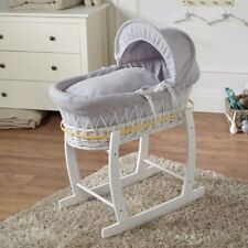 Grey Waffle White Wicker Moses Basket And White Rocking Stand