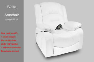 Electric Recliner Chair Sofa Armchair Real Leather 1 Seater Detachable Armrest