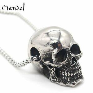 MENDEL Gothic Mens Biker Skull Pendant Necklace Men Stainless Steel Chain Silver