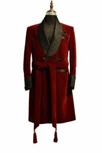 Smoking Jacket Mens Red Velvet Host Wear Gown Robe de Chambre Dinner Blazer Coat