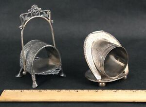 Antique Victorian Figural Silverplate Aesthetic Napkin Rings, Pairpoint, Birds