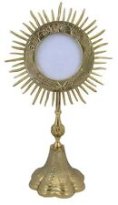 Catholic Gold Relic Case Sun Rays Reliquary Monstrance W Cross Sacred Vessel NR