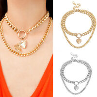 HK- Punk Double Layer Love Heart Pendant Thick Chain Choker Necklace Jewelry Rel