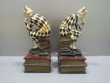 "Masked Harlequin Jester Thinker Sitting on Books Heavy Book Ends 8"" Tall"