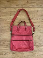 Fossil handbag crossbody messenger foldover hand grip rosy red large bag