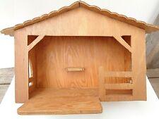 Vintage Handmade Wood Nativity Stable Medium Size Very Nice